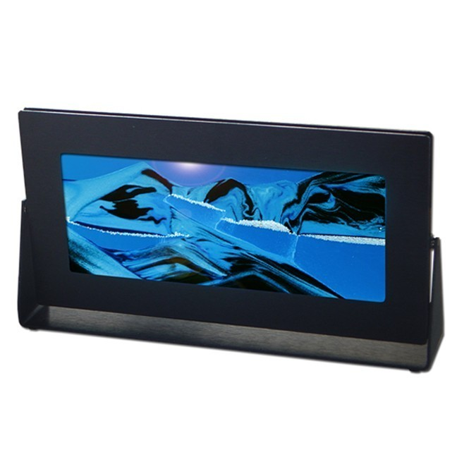Black Rectangle Moving Sand Pictures Ocean Blue