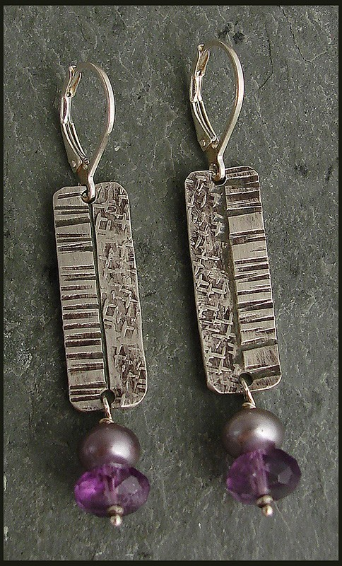 Sterling Earring with Amethyst and Pearl Drop