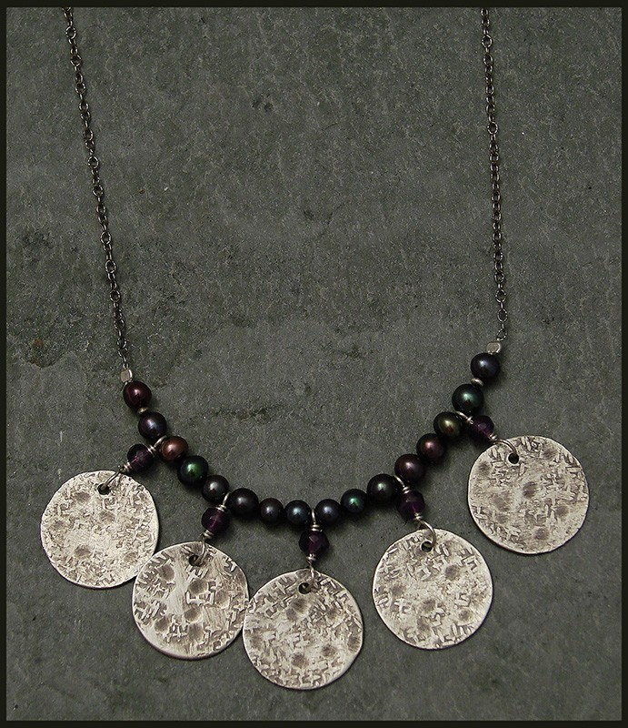 Amethyst & Pearl  with 5 Hammered Sterling Disc Necklace