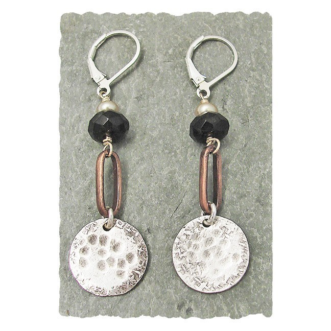 Smoky Quartz & Hammered Sterling Drop on Copper Earring