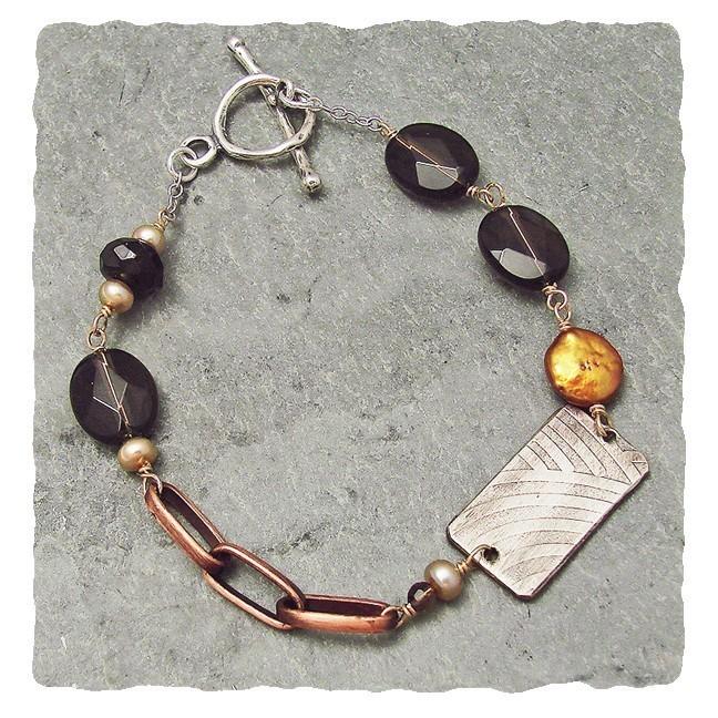 Smoky Quartz, Pearl and Copper Sterling, Brass,  Bracelet