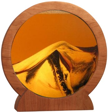Round Cherry Wood Orange Sunset Sand Pictures Lg.
