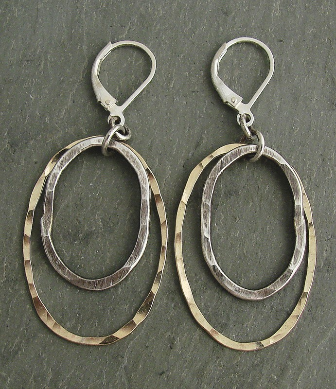 Sterling Handhewn & 14kt Goldfill Oval Earring