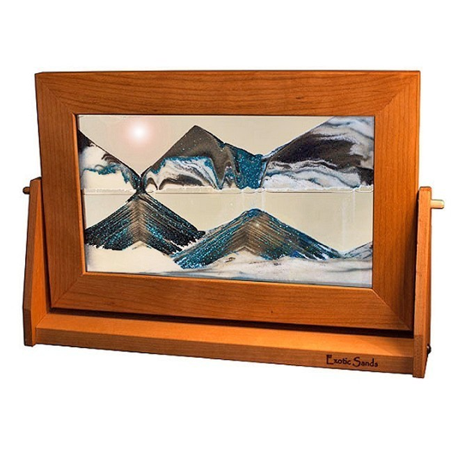 Cherry Wood Moving Sand Pictures Arctic Glacier Clear Lg.