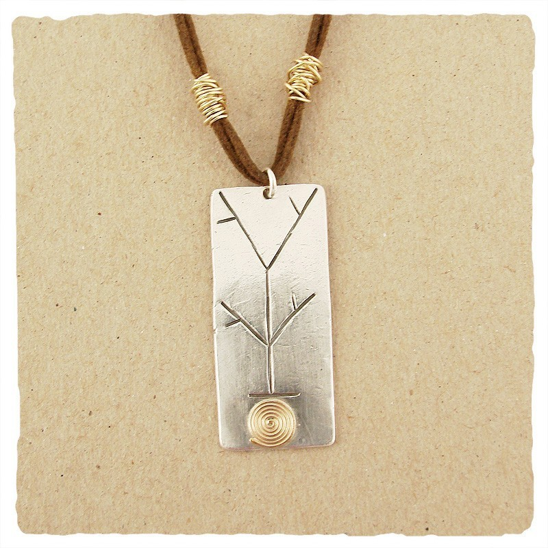 Sterling Branch Pendant with Gold Spiral Necklace
