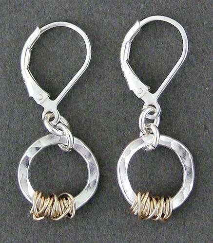 Sterling Silver & 14kt Goldfilled Handwrapped Earring
