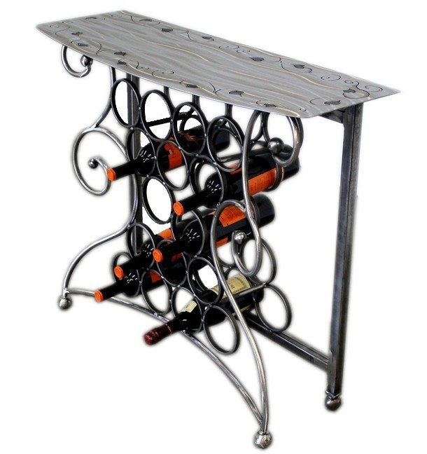 Vino Wine Storage Table | 4 finishes by Iron Chinchilla Clear