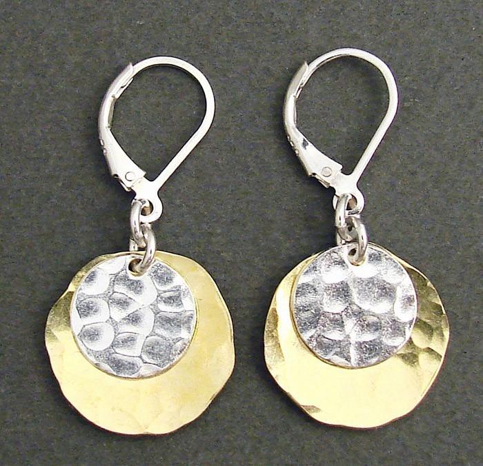 Sterling Silver Disc & Brass Oval Earring