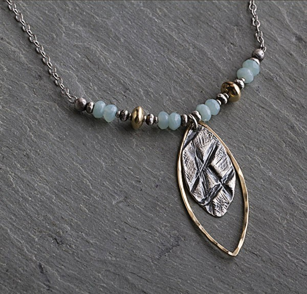 Amazonite Marquis Shape Sterling Necklace