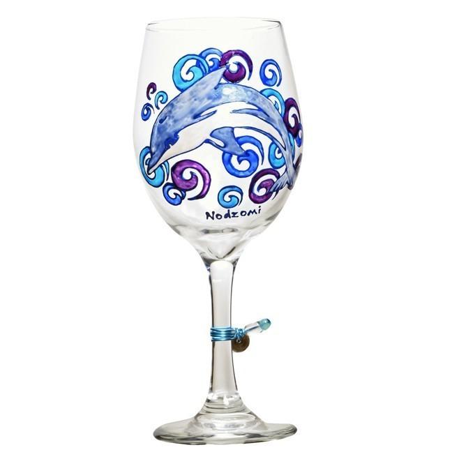 Blue Dolphin Wine Glass