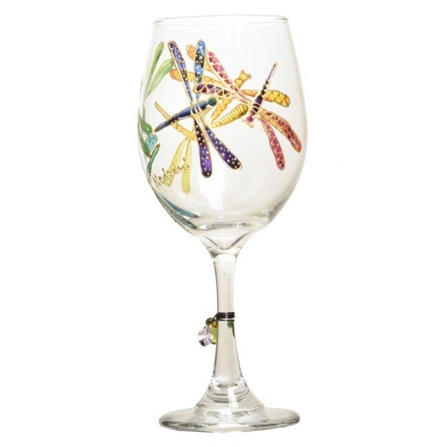 Dancing Dragonflies Hand Painted Wine Glass