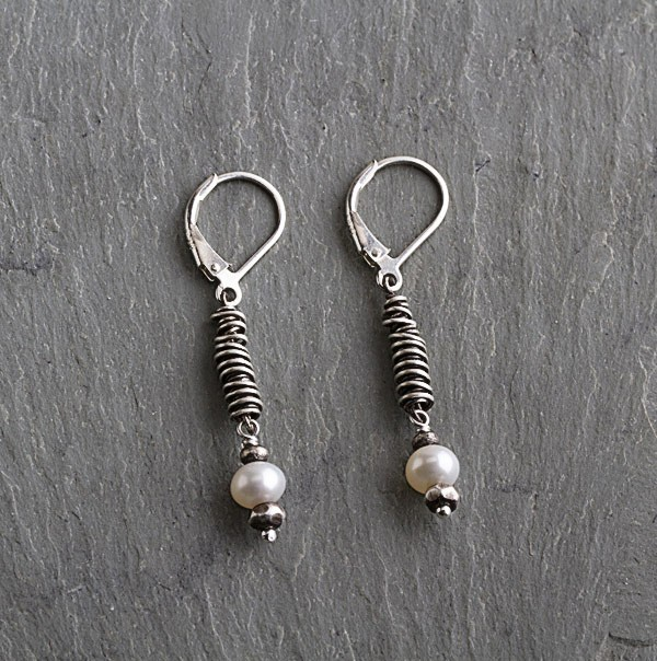 Pearl Drop Oxidized Sterling Coil Earring