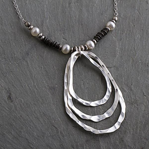 Pearl Sterling OxidizedTeardrops w/ Coils Necklace