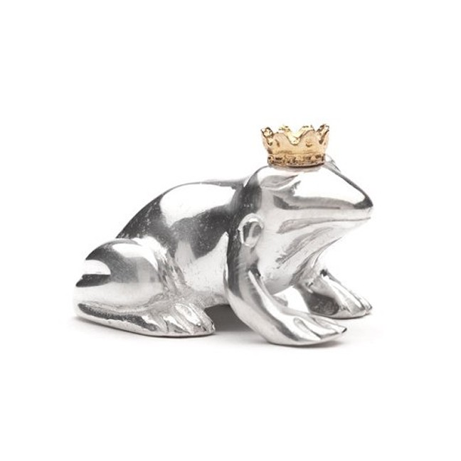Sterling Silver Frog Prince with Golden Crown