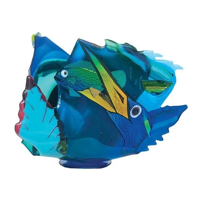 Tri Heron Fused and Slumped Wave Vase