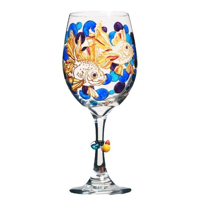 Fancy Koi Fish Hand Painted Wine Glass