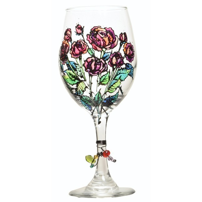 Red Roses Wine Glass
