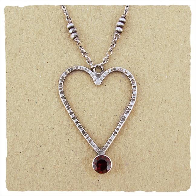 Sterling Silver Open Heart 6mm Garnet Heart Pendant Necklace