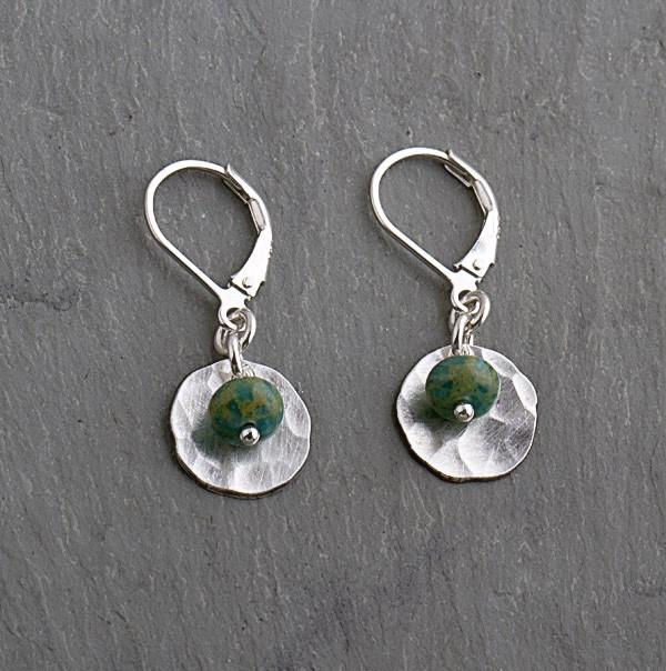 Turquoise & Sterling Silver Oxidized Earring