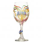 Hanukkah, Chanukah Menorah Wine Glass Hand Painted