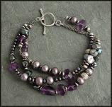 Lilac Pearl Peacock Multi Strand Sterling, Bracelet