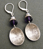 Sterling Oval Cup Drop on Amethyst & Pearl Earring