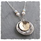 Amazonite, Pearl 14kt Goldfilled & Sterling Disc Necklace