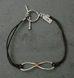 Sterling Figure 8 w/ Gold Wire on Dark Brown Cord Bracelet