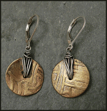 Sterling Oxidized Wire Wrapped Patterned Brass Disc  Earring