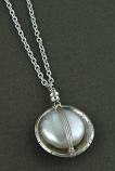 Pearl Set in Oxidized Sterling Cup Necklace