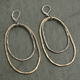 Sterling Hammered Oval & 14kt Goldfill Earring
