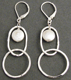 Pearl Sterling Silver Double Hoop Earring
