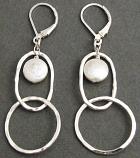 Pearl Sterling Silver Double Hoop Earring