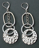 Sterling Hammered Hoops Drop Earring