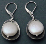 Pearl Textured Sterling Cup Earring