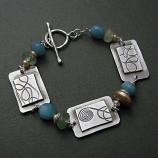 Amazonte, Peal & Jade Sterling Curlicue Bracelet
