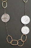 Sterling Disc & 14kt Goldfilled Link Long Necklace