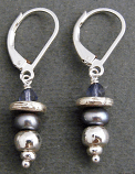 Iolite & Lilac Pearl Sterling, Earring