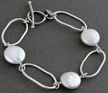 Pearl Sterling Organic Loop  Bracelet