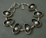 Pearl Oxidized Sterling Oval Bracelet