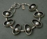 Pearl Oxidized Sterling Oval Bracelet