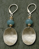 Amazonite & Tan Pearl Brushed Sterling Earring