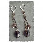 Smoky Quartz & Ant. Brass Earring