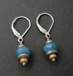 Amazonite & Tan Pearl Sterling Drop Earring