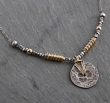 Sterling & 14kt Goldfilled Textured Disc Wire Wrapped Necklace