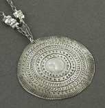 Sterling Silver Stamped Circular Pendant Necklace