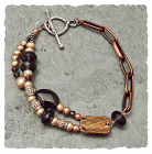Smoky Quartz & Pearl Brass, Copper, Sterling Beads Bracelet