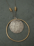 Sterling Disc w/ 14kt Goldfilled Large Hoop Necklace