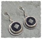 Onyx Bezel Sterling Silver Earring