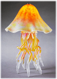 Jellyfish Table Lamp Amber Iridescent Single Dome 10 Colors